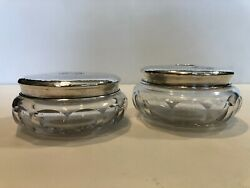 Rw And S Robert Wallace And Sons Sterling And Cut Crystal Powder Jar And Hair Receiver