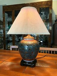 Vintage Oriental Accent Handpainted Porcelain Table Lamp 18 T Bottom To Socket