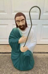 """Vtg Old Empire Christmas Nativity Shepard Plastic Lighted Blow Mold 27"""" Tall"""