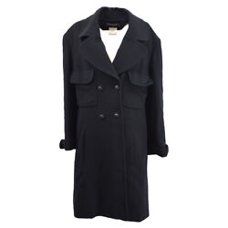 97a 36 Cc Logos Double Breasted Long Sleeve Coat Jacket Black Y03171h