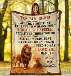 To My Lion Dad Blanket - Gift For Dad - Dad Birthday Gifts Fleece Blanket Gift