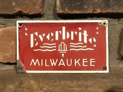 Original Early Porcelain Everbrite Milwaukee Neon Sign Id Tag Nameplate Gas Oil
