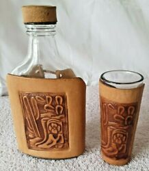 Vintage Leather Wrapped Western Embossed Whiskey Bottle Flask And Shot Glass Set