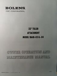 Bolens Tube Frame Tractor 33 Tiller Implement 18618 Owner And Parts 2 Manual S