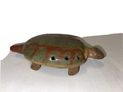 Native American Large Turtle Handmade Flute Whistle Pottery Clay