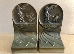 Antique 1919 Bronze Bookends Women's Professional Business Club, Nike Victory