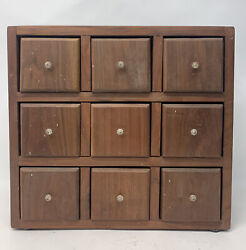 Vintage 9 Drawer Wood Spice Box Cabinet Apothecary Cupboard Chestcountertop