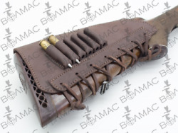 Leather Rifle Cartridge Holder Pouches Ammo Butt Stock 6 Pockets. Made In Europe