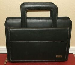Day One Franklin Covey Black Classic Planner 7 Ring W Snap Pocket And Handles