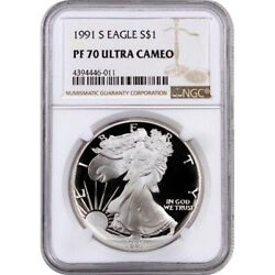 1991-s Proof American Silver Eagle One Dollar Coin Ngc Pf70 Ultra Cameo