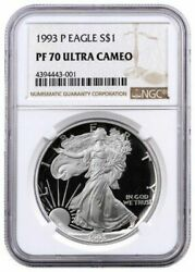 1993-p Proof American Silver Eagle One Dollar Coin Ngc Pf70 Ultra Cameo