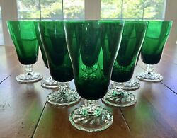 Vtg Set Of 11 Fostoria Colonial Dame Emerald Green Iced Tea Glasses Clear Base
