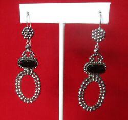 Pair Of Antique French Cut Steel Earrings With Black Glass French Jet Stones