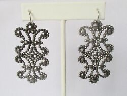 Pair Of Antique French Cut Steel Earrings