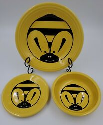 Fiesta Fiestaware Yellow Bumble Bee Bowl, Saucer And Dinner Platediscontinued