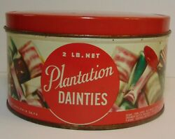 Old Vintage 1950s Plantation Candy Graphic Candy Tin Litho Can 2 Lb Made In Usa