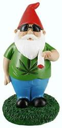 Gnometastic Smoking Gnome Indoor Outdoor Garden Statue, 8.5 8.5in Tall, Green