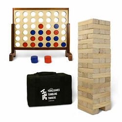 Yardgames Giant Tumbling Timbers Wood Stacking Game Bundle With 4 In A Row Game