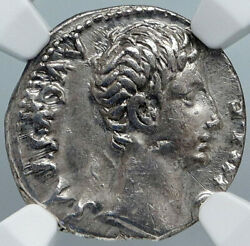 Augustus Authentic Ancient 15bc Silver Roman Coin Actium Victory Ngc I88889