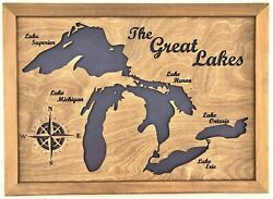 Lake Maps Of Ontario 3d Custom Made Laser Cut And Engraved Wall Art