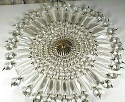 Vintage Glass Prism Drop Garland Chandelier Parts 35 Piece And Medallion As Is