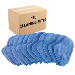 Case Of 180 Dusting Mitts - Microfiber Cleaning Gloves W/ Thumbs Blue Reusable