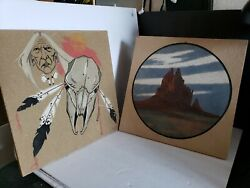 Native American Sand Art Paintings On Wood Board 12×12 One Signed Lee