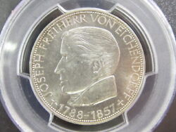 1957 Germany West Germany Eichendorf 5 Marc Silver Coin Pcgs Ms63