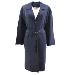 96p 38 Cc Logos Button Long Sleeve Coat Jacket Belted Navy Y03184h