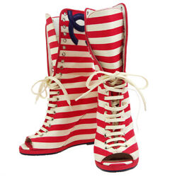 Striped Cc Open Toe Boots Shoes White Red Blue 34 1/2 Authentic Ak31819c