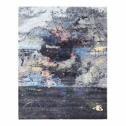 8and039x10and039 Charcoal Black With Pop Of Colors Modern Wool-silk Handknotted Rug R62407