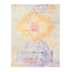 8and039x10and0392 Geometric Abstract Design Yellow Wool And Silk Hand Knotted Rug R62412
