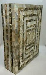 Vintage Koran In Arabic Bound In Shell Abalone Mother Of Pearl Box Muslim