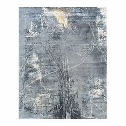 8and039x10and0393 Wool And Silk Charcoal Black Hand Knotted Modern Oriental Rug R62417