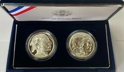 2001 Buffalo Two Coin Silver Dollar Commemorative Coins Us Mint Set W/ Box And Coa