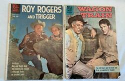 Two Vintage Dell Roy Rogers And Trigger And Wagon Train Comic Books