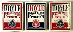 Lot 3 Playing Cards Deck New Hoyle Poker Red Blue Official Regular Index 1201