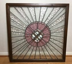 Old 34.75square Real Stained Glass Leaded Beveled Window Art W/wood Frame Heavy
