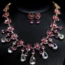 Natural White - Pink Mystic Topaz And Blue Tanzanite Necklace-earrings 925 Silver