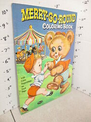 Merry Go Round Carousel Horse Teddy Bear 1961 Comic Coloring Book Unused 32p
