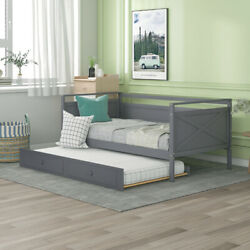 Twin Size Daybed Day Bed With Trundle Sofa Bed Wood Bed Frame Bedroom Furniture
