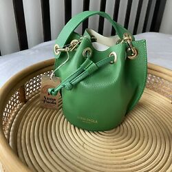 nwt Anna Paola green small leather bucket bag cross body $78.00