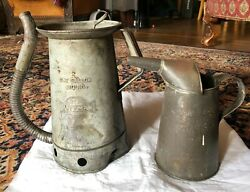 2 Vintage 1 Huffman One Gallon Swing Spout Oil Can And 1 Half Gallon Standard Oil