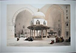 David Roberts 1848 H/c 1st Folio Interior Of The Mosque Of Sultan Hassan Egypt