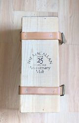 The Macallan Over 25 Years Old Anniversary Malt Whiskey Belted Wooden Box/crate