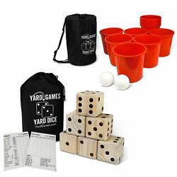 Yard Games Giant Outdoor Wooden Dice Set Bundle With Pong Activity Party Set