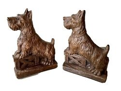 Ornawood Carved Scottie Dog Bookends Pair Set Of 2 Terrier Scotty Vintage Brown