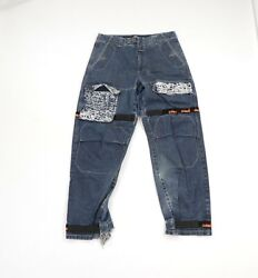 Vtg 90s Marithe Francois Girbaud Mens 34x32 Spell Out Thrashed Baggy Fit Jeans