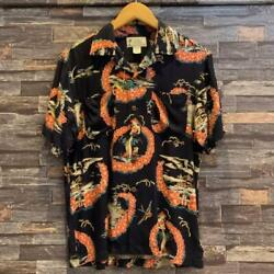 Rrl Tropical Print Camp Shirt Short Sleeves Size Xs Navy Good Condition Rare