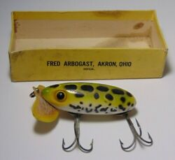 Vintage 40s Fred Arbogast Wwii Plastic Lip Jitterbug Antique Fishing Lure In Box